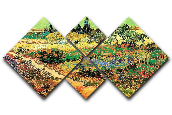 Flowering Garden with Path by Van Gogh 4 Square Multi Panel Canvas