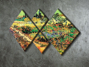 Flowering Garden with Path by Van Gogh 4 Square Multi Panel Canvas - Canvas Art Rocks - 2