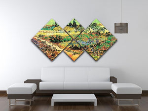 Flowering Garden with Path by Van Gogh 4 Square Multi Panel Canvas - Canvas Art Rocks - 3