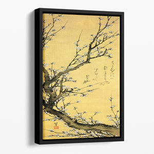 Flowering plum by Hokusai Floating Framed Canvas