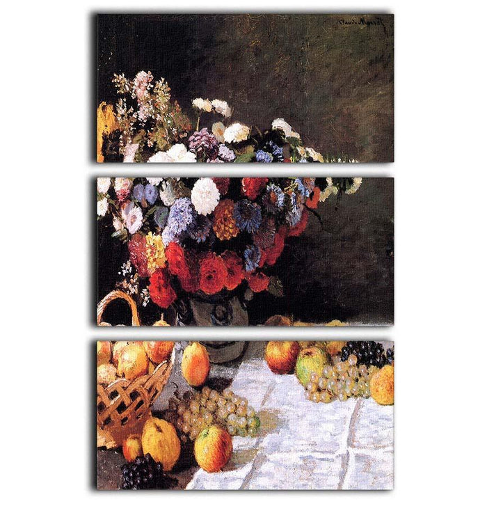 Flowers and Fruits by Monet 3 Split Panel Canvas Print