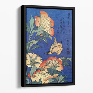 Flowers by Hokusai Floating Framed Canvas
