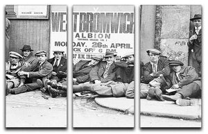 Football fans queue on the morning of a F.A. Cup match 1920 3 Split Panel Canvas Print - Canvas Art Rocks - 1