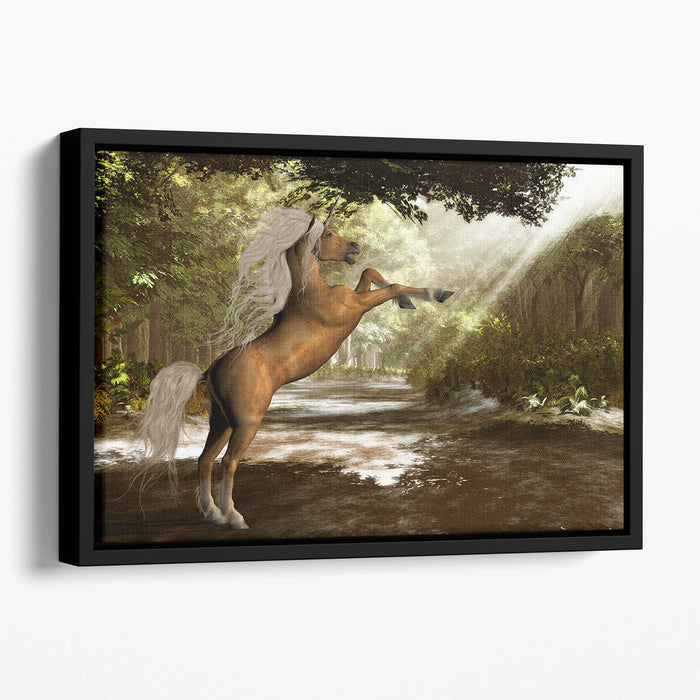 Forest Unicorn Floating Framed Canvas