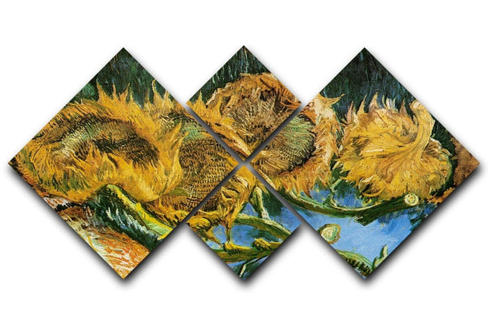 Four Cut Sunflowers by Van Gogh 4 Square Multi Panel Canvas