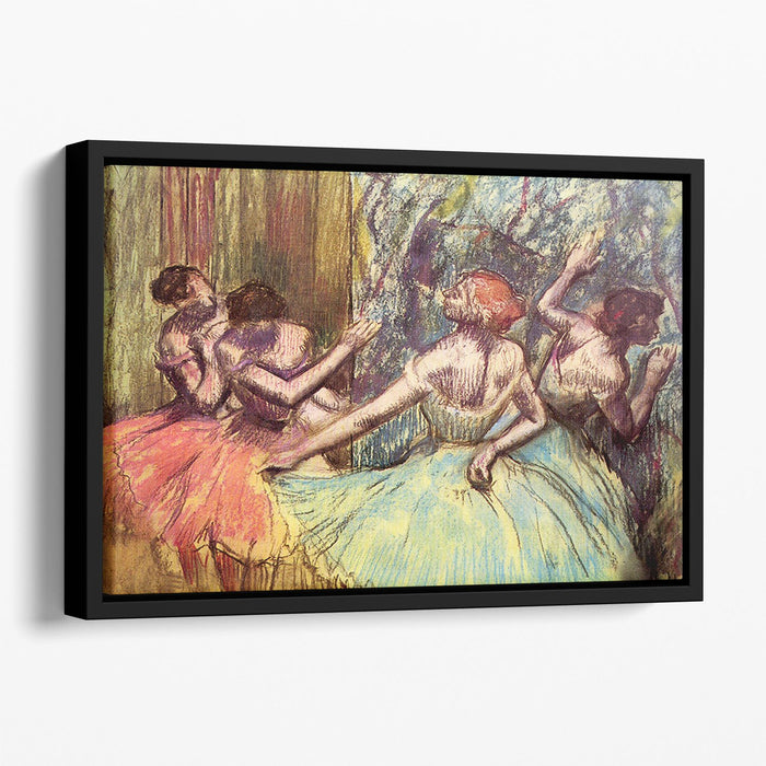 Four dancers behind the scenes 2 by Degas Floating Framed Canvas