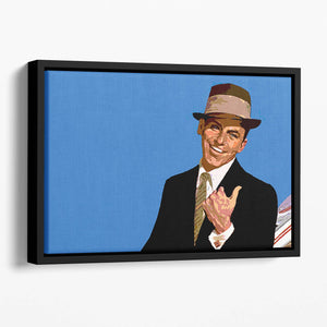 Frank Sinatra Pop Art Floating Framed Canvas