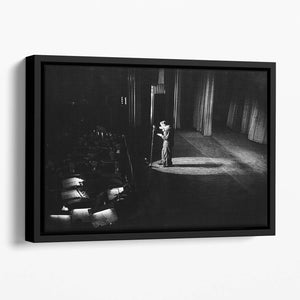 Frank Sinatra on stage Floating Framed Canvas