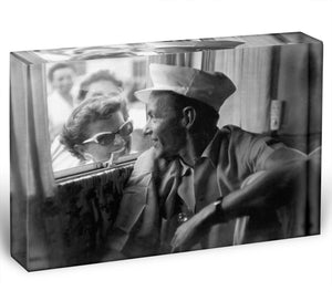 Frank Sinatra with a fan Acrylic Block - Canvas Art Rocks - 1