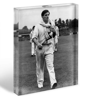 Fred Trueman 1954 Acrylic Block - Canvas Art Rocks - 1