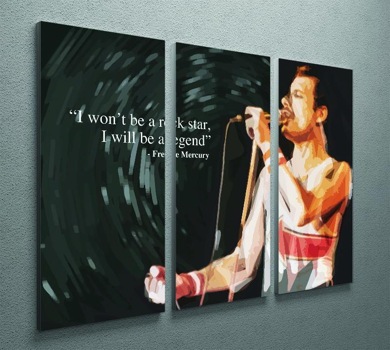 Freddie Mercury Rock Star 3 Split Panel Canvas Print - Canvas Art Rocks - 2
