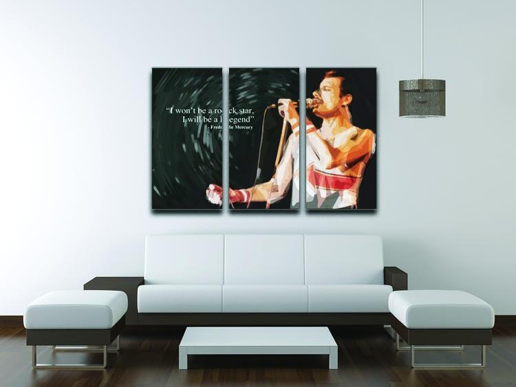 Freddie Mercury Rock Star 3 Split Panel Canvas Print - Canvas Art Rocks - 3