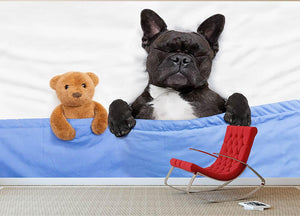 French bulldog dog with headache and hangover sleeping in bed Wall Mural Wallpaper - Canvas Art Rocks - 2