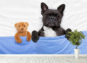 French bulldog dog with headache and hangover sleeping in bed Wall Mural Wallpaper - Canvas Art Rocks - 4