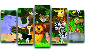 Frendly Animals in the jungle 5 Split Panel Canvas  - Canvas Art Rocks - 1