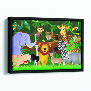 Frendly Animals in the jungle Floating Framed Canvas