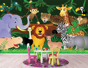 Frendly Animals in the jungle Wall Mural Wallpaper - Canvas Art Rocks - 2