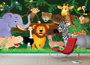 Frendly Animals in the jungle Wall Mural Wallpaper - Canvas Art Rocks - 3