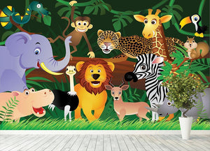 Frendly Animals in the jungle Wall Mural Wallpaper - Canvas Art Rocks - 4