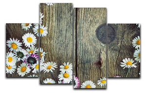 Fresh daisies on wood 4 Split Panel Canvas  - Canvas Art Rocks - 1