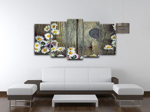 Fresh daisies on wood 5 Split Panel Canvas  - Canvas Art Rocks - 3