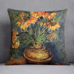 Fritillaries in a Copper Vase by Van Gogh Throw Pillow