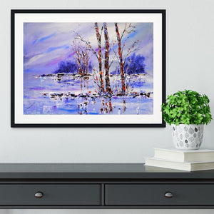 Frozen Tree Painting Framed Print - Canvas Art Rocks - 1