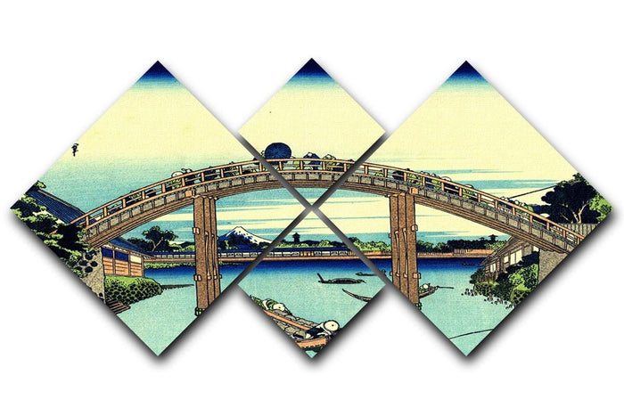 Fuji seen through the Mannen bridge by Hokusai 4 Square Multi Panel Canvas