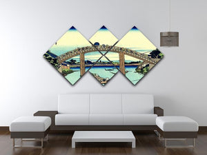 Fuji seen through the Mannen bridge by Hokusai 4 Square Multi Panel Canvas - Canvas Art Rocks - 3