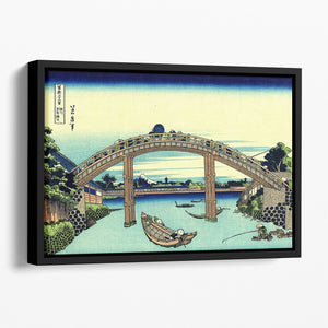 Fuji seen through the Mannen bridge by Hokusai Floating Framed Canvas