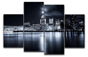 Full moon over London skyscrapers 4 Split Panel Canvas  - Canvas Art Rocks - 1