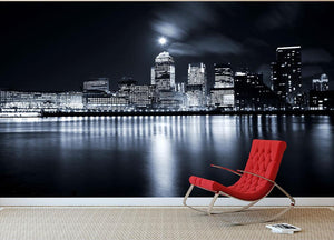 Full moon over London skyscrapers Wall Mural Wallpaper - Canvas Art Rocks - 2