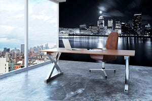Full moon over London skyscrapers Wall Mural Wallpaper - Canvas Art Rocks - 3