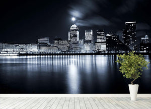 Full moon over London skyscrapers Wall Mural Wallpaper - Canvas Art Rocks - 4