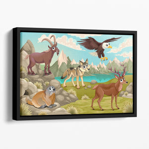 Funny animals in a mountain landscape Floating Framed Canvas - Canvas Art Rocks - 1