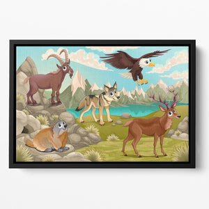Funny animals in a mountain landscape Floating Framed Canvas - Canvas Art Rocks - 2