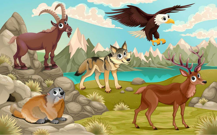 Funny animals in a mountain landscape Wall Mural Wallpaper
