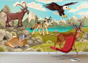 Funny animals in a mountain landscape Wall Mural Wallpaper - Canvas Art Rocks - 2