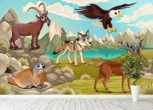 Funny animals in a mountain landscape Wall Mural Wallpaper - Canvas Art Rocks - 4
