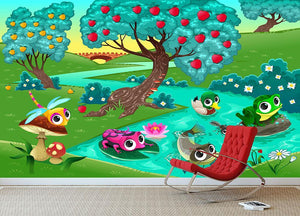 Funny animals on a river in the wood Wall Mural Wallpaper - Canvas Art Rocks - 3