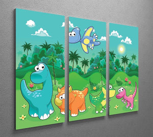 Funny dinosaurs in the forest 3 Split Panel Canvas Print - Canvas Art Rocks - 2