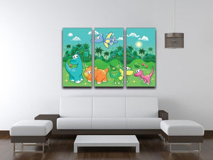 Funny dinosaurs in the forest 3 Split Panel Canvas Print - Canvas Art Rocks - 3