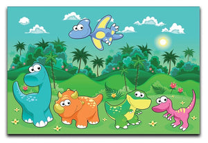 Funny dinosaurs in the forest Canvas Print or Poster  - Canvas Art Rocks - 1