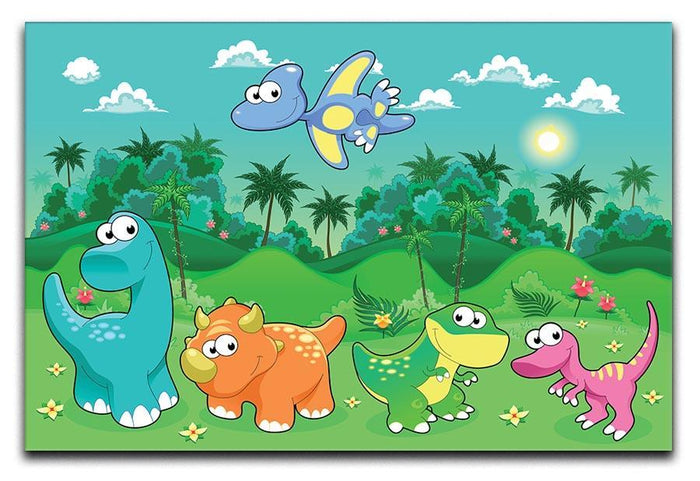 Funny dinosaurs in the forest Canvas Print or Poster