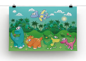 Funny dinosaurs in the forest Canvas Print or Poster - Canvas Art Rocks - 2