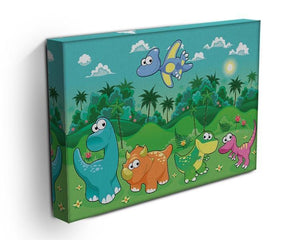 Funny dinosaurs in the forest Canvas Print or Poster - Canvas Art Rocks - 3