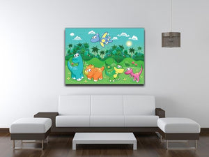 Funny dinosaurs in the forest Canvas Print or Poster - Canvas Art Rocks - 4