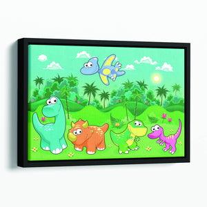 Funny dinosaurs in the forest Floating Framed Canvas