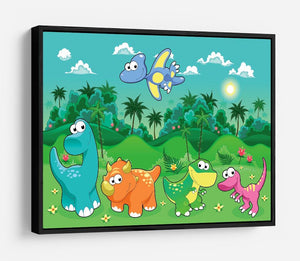 Funny dinosaurs in the forest HD Metal Print