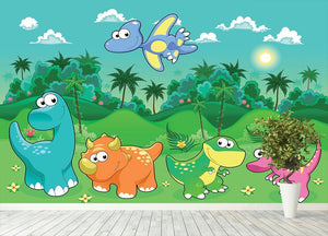 Funny dinosaurs in the forest Wall Mural Wallpaper - Canvas Art Rocks - 4